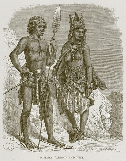 Damara Warrior and Wife. Illustration for The Natural History of Man by JG Wood (George Routledge, 1868).