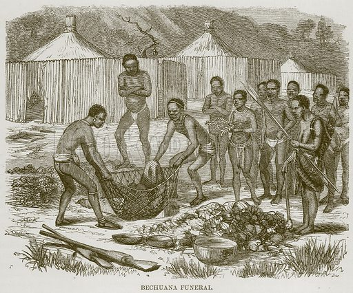 Bechuana Funeral. Illustration for The Natural History of Man by JG Wood (George Routledge, 1868).