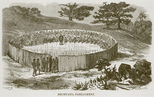 Bechuana Parliament. Illustration for The Natural History of Man by JG Wood (George Routledge, 1868).