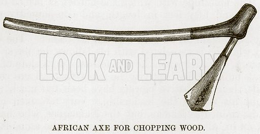 African Axe for Chopping Wood. Illustration for The Natural History of Man by JG Wood (George Routledge, 1868).