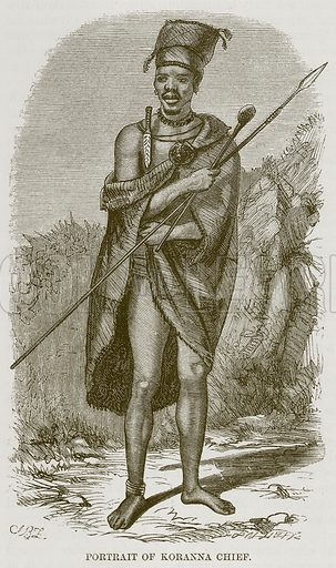 Portrait of Koranna Chief. Illustration for The Natural History of Man by JG Wood (George Routledge, 1868).