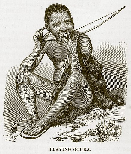 Playing Goura. Illustration for The Natural History of Man by JG Wood (George Routledge, 1868).