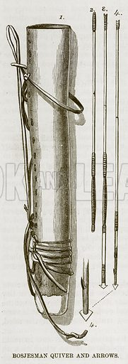 Bosjesman Quiver and Arrows. Illustration for The Natural History of Man by JG Wood (George Routledge, 1868).