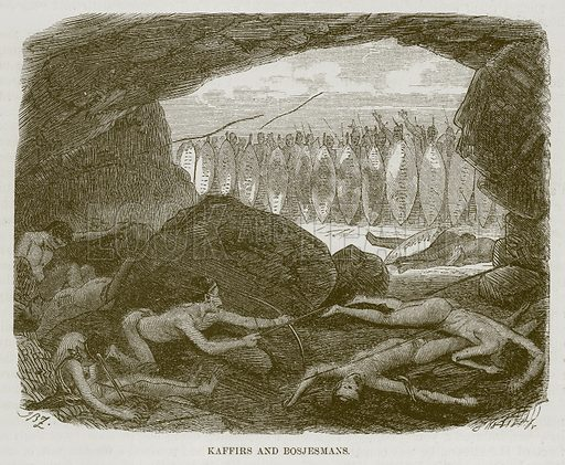 Kaffirs and Bosjesmans. Illustration for The Natural History of Man by JG Wood (George Routledge, 1868).