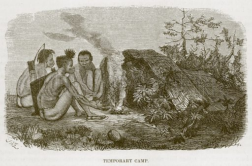 Temporary Camp. Illustration for The Natural History of Man by JG Wood (George Routledge, 1868).