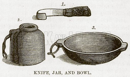 Knife, Jar, and Bowl. Illustration for The Natural History of Man by JG Wood (George Routledge, 1868).
