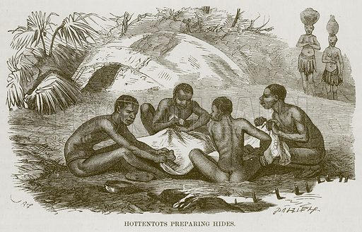 Hottentots Preparing Hides. Illustration for The Natural History of Man by JG Wood (George Routledge, 1868).