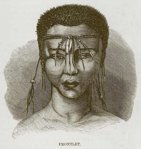 Frontlet. Illustration for The Natural History of Man by JG Wood (George Routledge, 1868).