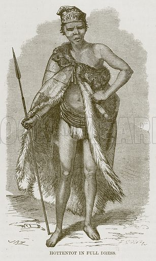 Hottentot in Full Dress. Illustration for The Natural History of Man by JG Wood (George Routledge, 1868).