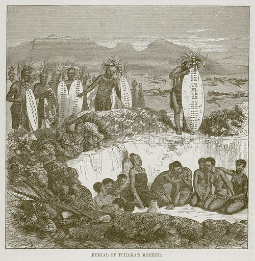 Burial of Tchaka's Mother. Illustration for The Natural History of Man by JG Wood (George Routledge, 1868).