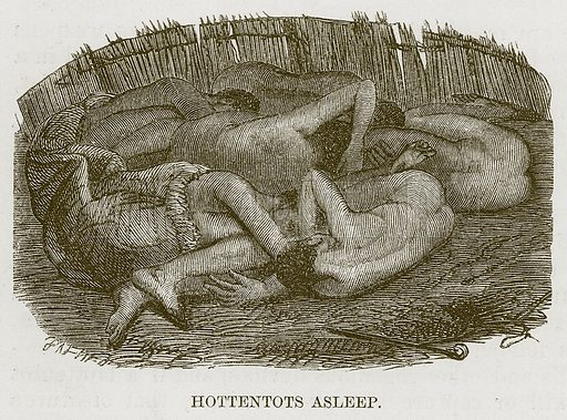 Hottentots Asleep. Illustration for The Natural History of Man by JG Wood (George Routledge, 1868).