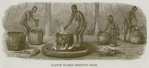 Kaffir Women Brewing Beer. Illustration for The Natural History of Man by JG Wood (George Routledge, 1868).