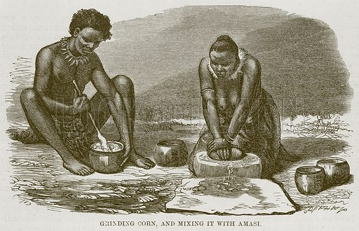 Grinding Corn, and Mixing it with Amasi. Illustration for The Natural History of Man by JG Wood (George Routledge, 1868).
