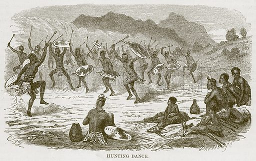 Hunting Dance. Illustration for The Natural History of Man by JG Wood (George Routledge, 1868).