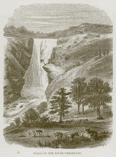 Falls on the River Umzimvubu. Illustration for The Natural History of Man by JG Wood (George Routledge, 1868).