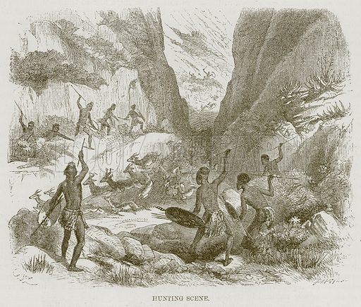 Hunting Scene. Illustration for The Natural History of Man by JG Wood (George Routledge, 1868).
