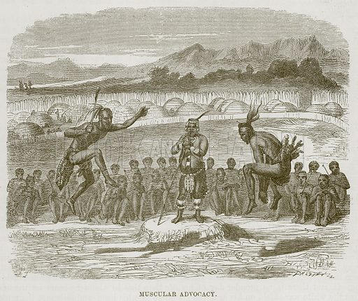 Muscular Advocacy. Illustration for The Natural History of Man by JG Wood (George Routledge, 1868).