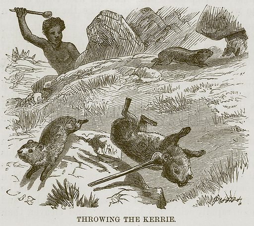 Throwing the Kerrie. Illustration for The Natural History of Man by JG Wood (George Routledge, 1868).