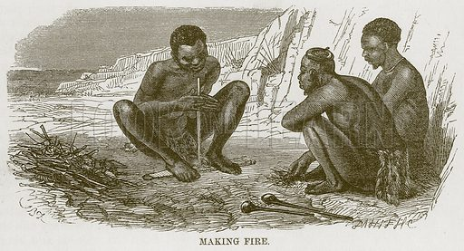 Making Fire. Illustration for The Natural History of Man by JG Wood (George Routledge, 1868).