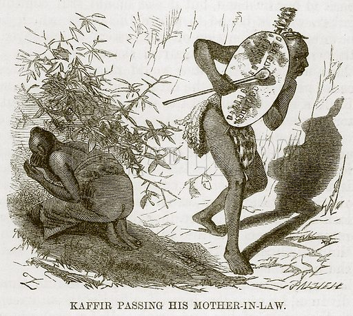 Kaffir Passing his Mother-in-Law. Illustration for The Natural History of Man by JG Wood (George Routledge, 1868).