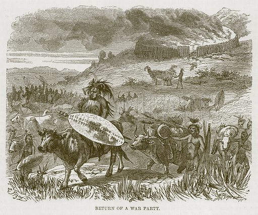 Return of a War Party. Illustration for The Natural History of Man by JG Wood (George Routledge, 1868).
