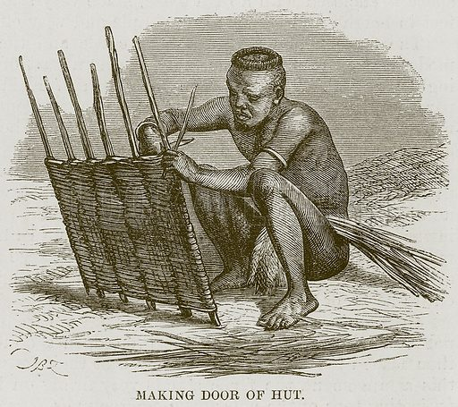 Making Door of Hut. Illustration for The Natural History of Man by JG Wood (George Routledge, 1868).