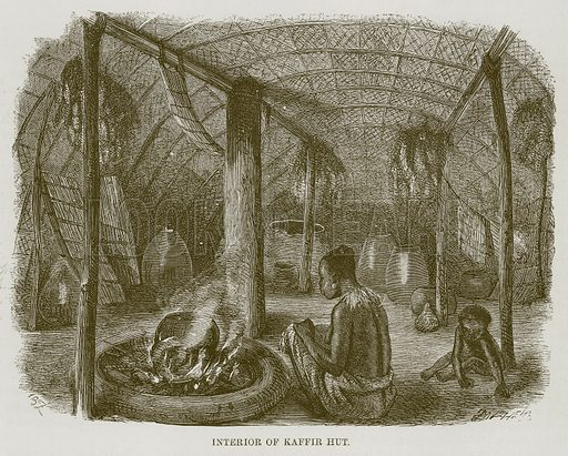 Interior of Kaffir Hut. Illustration for The Natural History of Man by JG Wood (George Routledge, 1868).