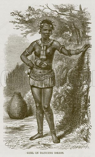 Girl in Dancing Dress. Illustration for The Natural History of Man by JG Wood (George Routledge, 1868).