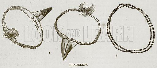 Bracelets. Illustration for The Natural History of Man by JG Wood (George Routledge, 1868).