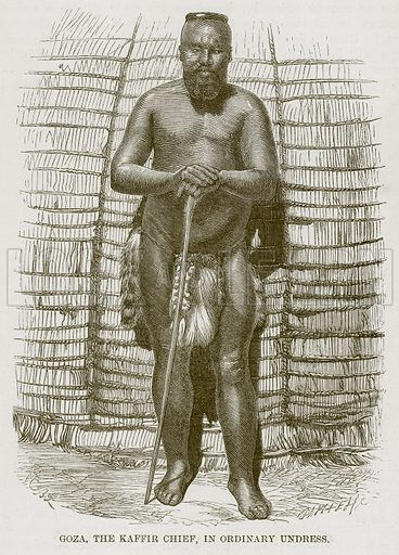 Goza, the Kaffir Chief, in Ordinary Undress. Illustration for The Natural History of Man by JG Wood (George Routledge, 1868).