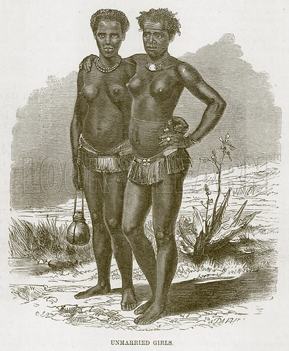 Unmarried Girls. Illustration for The Natural History of Man by JG Wood (George Routledge, 1868).
