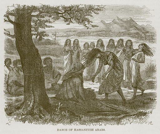 Dance of Hassaniyeh Arabs. Illustration for The Natural History of Man by JG Wood (George Routledge, 1868).