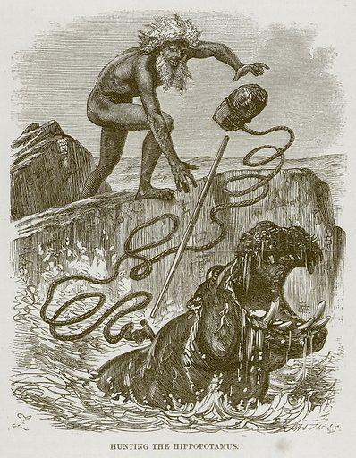 Hunting the Hippopotamus. Illustration for The Natural History of Man by JG Wood (George Routledge, 1868).