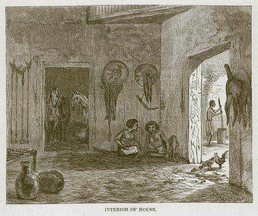 Interior of House. Illustration for The Natural History of Man by JG Wood (George Routledge, 1868).