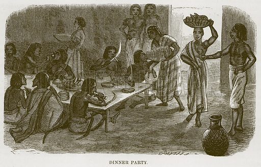 Dinner Party. Illustration for The Natural History of Man by JG Wood (George Routledge, 1868).