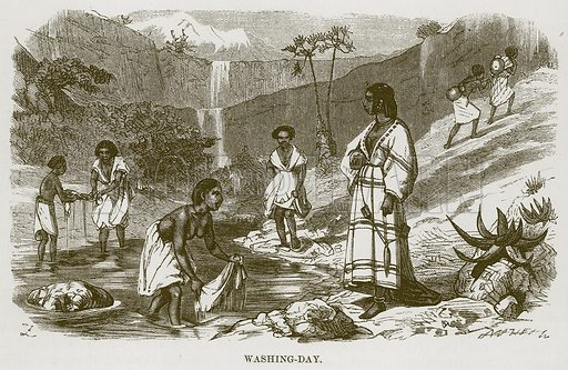 Washing-Day. Illustration for The Natural History of Man by JG Wood (George Routledge, 1868).