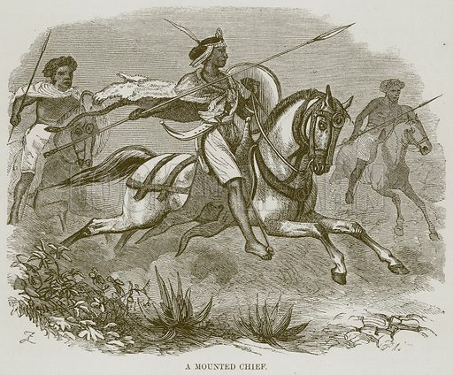 A Mounted Chief. Illustration for The Natural History of Man by JG Wood (George Routledge, 1868).