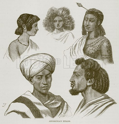 Abyssinian Heads. Illustration for The Natural History of Man by JG Wood (George Routledge, 1868).