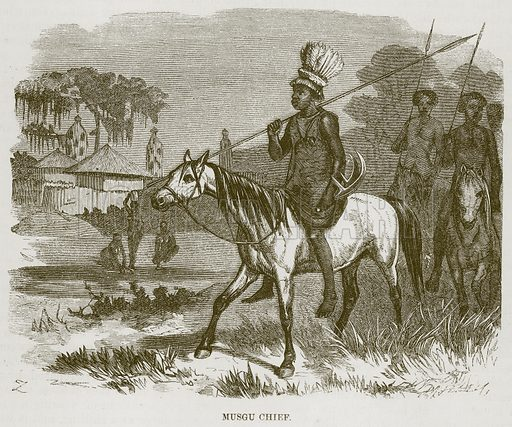 Musgu Chief. Illustration for The Natural History of Man by JG Wood (George Routledge, 1868).