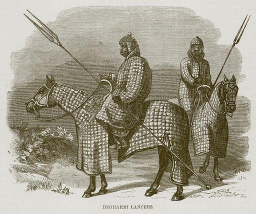 Begharmi Lancers. Illustration for The Natural History of Man by JG Wood (George Routledge, 1868).