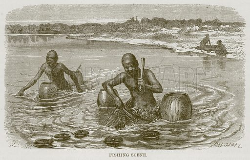 Fishing Scene. Illustration for The Natural History of Man by JG Wood (George Routledge, 1868).