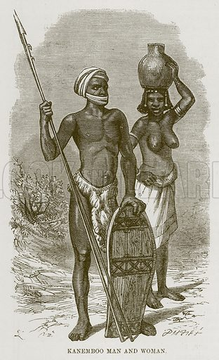 Kanemboo Man and Woman. Illustration for The Natural History of Man by JG Wood (George Routledge, 1868).