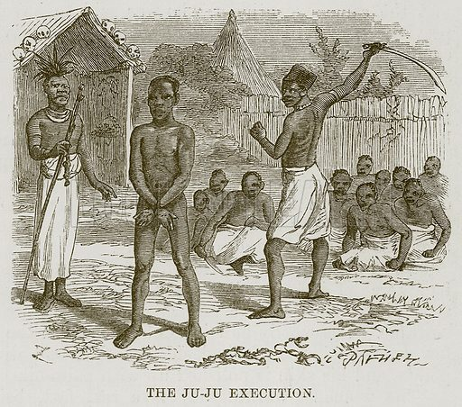 The Ju-Ju Execution. Illustration for The Natural History of Man by JG Wood (George Routledge, 1868).