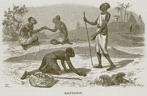 Salutation. Illustration for The Natural History of Man by JG Wood (George Routledge, 1868).