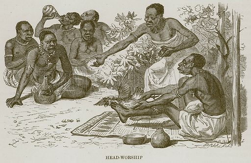 Head-Worship. Illustration for The Natural History of Man by JG Wood (George Routledge, 1868).