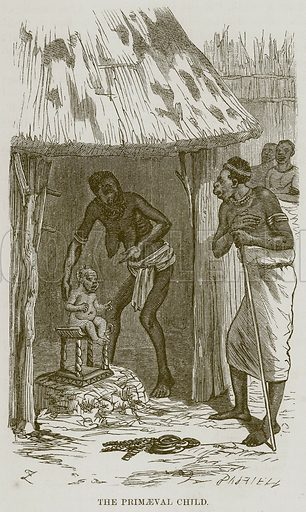 The Primaeval Child. Illustration for The Natural History of Man by JG Wood (George Routledge, 1868).