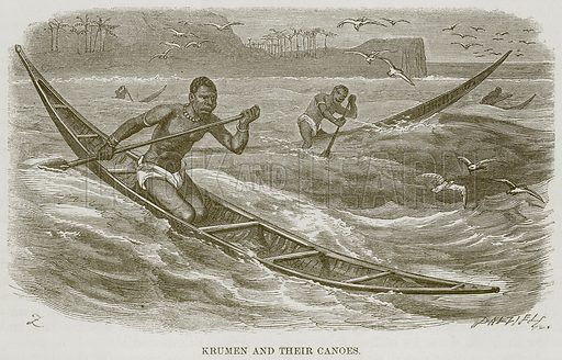 Krumen and their Canoes. Illustration for The Natural History of Man by JG Wood (George Routledge, 1868).