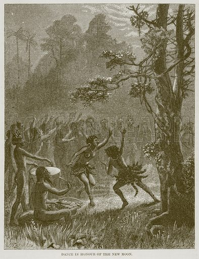 Dance in Honour of the New Moon. Illustration for The Natural History of Man by JG Wood (George Routledge, 1868).