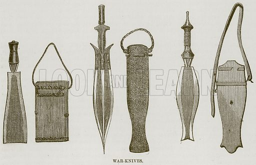 War-Knives. Illustration for The Natural History of Man by JG Wood (George Routledge, 1868).
