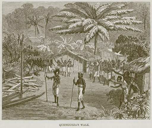 Quengueza's Walk. Illustration for The Natural History of Man by JG Wood (George Routledge, 1868).
